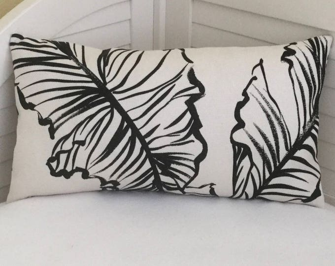 Lee Jofa Groundworks Banana Leaf in Black and White (on Both Sides)  Indoor Outdoor Pillow Cover - Lumbar Sizes