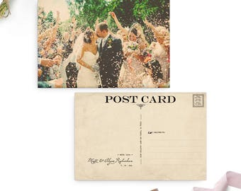 "Wedding Thank You Postcards, 4x6, Thank you card, Vintage Style - the ""Alysse"""