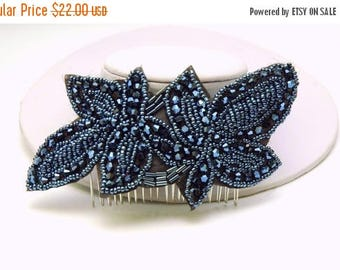 Vintage Style Beaded Hair Comb, Black Blue Applique 1920s Headpiece, The Great Gatsby Headpiece, Downton Abbey Headpiece,  Hair Piece