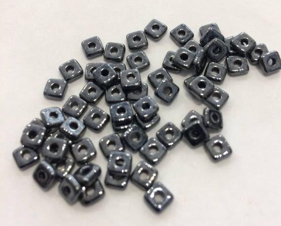 Czech Quad Beads Hematite 5g (approx 110 beads)