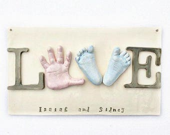 "RESERVED Sibling Wall Art - Baby Hand and Footprint Love Plaque - ""LOVE"" Wall Decor for Siblings  - Personalized Keepsake Gift - Keepsake"