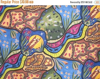 ON SALE Bambillah Colorful Aboriginal Print Pure Cotton Fabric--One Yard