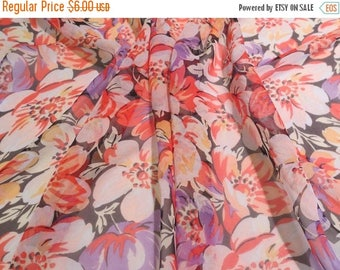 ON SALE SPECIAL--Orange and Lavender Muted Floral Print Pure SIlk Chiffon Fabric--One Yard