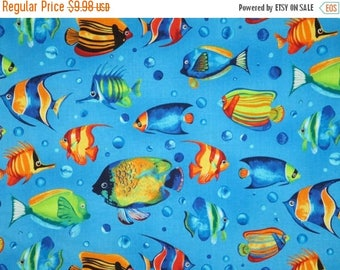 ON SALE Colorful Reef Fish Print Pure Cotton Fabrics--One Yard