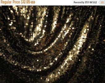 """ON SALE SPECIAL--Bronze Allover Teardrop Paillettes Stretch Illusion Fabric--""""As Is""""--One Yard"""