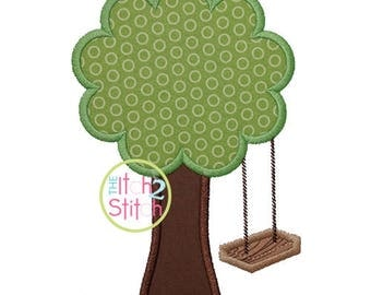 Wooden Swing Tree Applique for Machine Embroidery  INSTANT DOWNLOAD now available