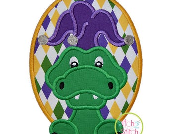 Mardi Gras Alligator Applique Design For Machine Embroidery,  INSTANT DOWNLOAD now available