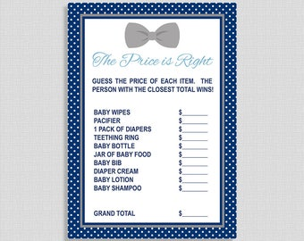Price is Right Baby Shower Game, Navy & Grey Bow Tie Baby Shower Activity, DIY Printable, INSTANT DOWNLOAD