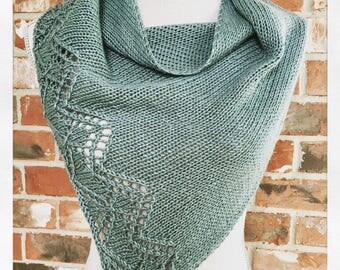 Light Teal Grey Chevron Lace Shawl Scarf