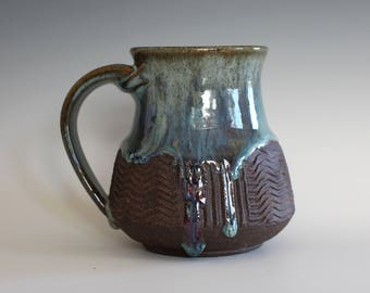 Pottery Mug, 16 oz, unique coffee mug, handmade cup, handthrown mug, stoneware mug, wheel thrown pottery mug, ceramics and pottery