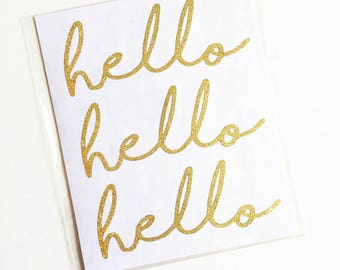 EXCLUSIVE**Hello Gold Glitter Stickers (12 in package)