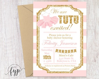 Tutu Baby Shower Invitations, Girls Baby Shower Invitations, Ballerina Baby Shower Invitations, Glitter Baby Shower Invite, Tutu Invite