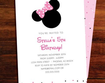 Minnie Mouse Birthday invitations -  digital file, you print