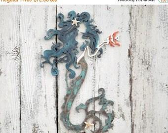 ON SALE VERDIGRIS Mermaid Wall Art / Mermaid Wall Decor /Unique Mermaid Decor / Nautical / Fantasy /  Beach Decor/ Mermaid