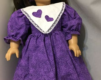 18 Inch Doll Dress / Doll Clothing / Doll Purple Dress Set / Pleasant Company / Purple Doll Dress / Purple Heart Outfit