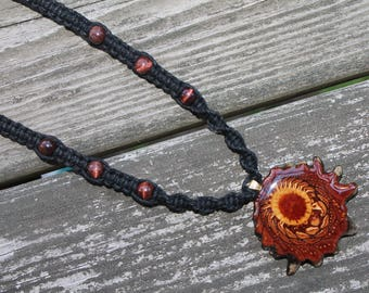 Third Eye Pinecone necklace with red tigers eye beads, natural pinecone, hemp necklace, hemp jewelry, hippie, macrame, sacred geometry