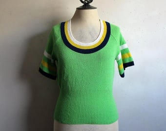50OFF Event 60s Green Stripe Knit Top Vintage 1960s Navy Yellow Striped Short Sleeve Knit Top Small