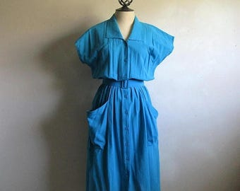 50OFF Event Vintage 1980s Rodier Dress Sky Blue Cotton Textured 50s Style 80s Summer Dress 38
