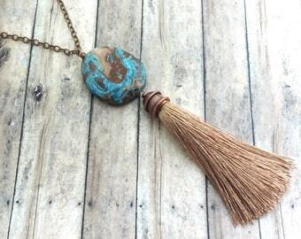 Boho Tassel Necklace - Silk Tassel Necklace - Blue Ocean Jasper Gemstone - Bohemian Jewelry - Statement Jewelry - Gypsy Necklace