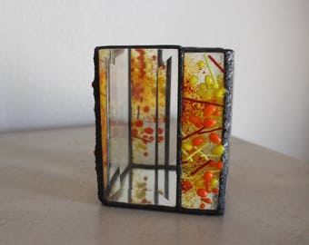 Candle holder, stained glass candle holder, fused glass candle holder, fused and stained glass candle holder, beveled candle holder, glass