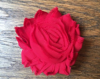 Red Fabric Flower Clip