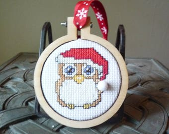 Snowy Owl, Hand Stitched Ornament