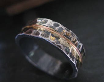 Mens Wedding Band Rustic Ring Unique Bands Silver Rose Gold