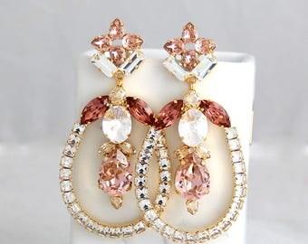 Blush Chandelier Earrings, Bridal Rose Gold Earrings, Statement Earrings, Oversized Earrings Morganite Chandelier Earrings, Blush Earrings