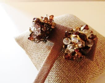 ALICE CAVINESS Topaz Crystal Cluster Earrings, Clip Earrings, 1950's Crystal and Bead Earrings