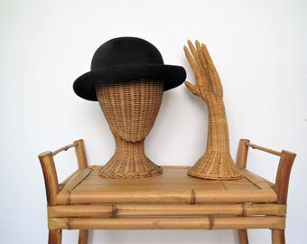 Vintage wicker head display/mid century display/jewelry display