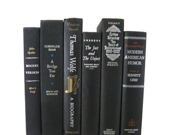 ON SALE NOW Vintage  Black Books, Silver and White lettering,  Black Old Books , Black Vintage Book Set ,