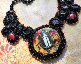 Art Deco Necklace, Bakelite Victorian Romantic Jewelry, Bead Embroidery, Wearable Art, Special Occasion