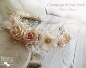 Light Champagne & Pale Peach Flower Crown ~ Bridal Flower Crown ~ Bride, Bridesmaid, Flowergirl ~ Available in Child and Adult Size.