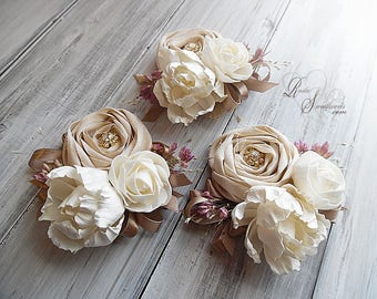 Rustic Peony Sola Flower Wedding Corsage. Can be worn as a wrist corsage or pin on.