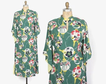 Vintage 40s HAWAIIAN Dress / 1940s Cold Rayon Novelty Print Pake Muu Long Dress L