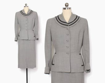 Vintage 40s 2-Tone Wool Suit / 1940s Gray Tailored Blazer Jacket & Pencil Skirt XS - S