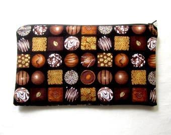 Fancy Chocolates Fabric Zipper Pouch / Pencil Case / Make Up Bag / Gadget Sack