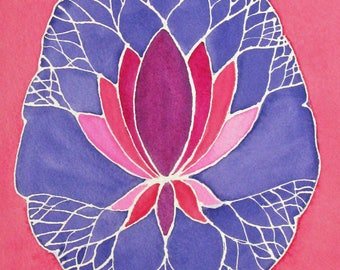 Purple Lotus Brain  -  original watercolor painting