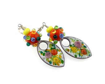 Colorful Enamel Artisan Lampwork Earrings,