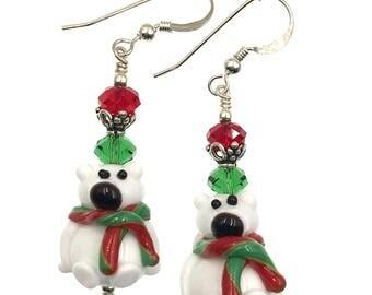 Polar Bear Earrings, Christmas Earrings, Lampwork Earrings, Glass Bead Earrings, Christmas Lampwork Jewelry, White Teddy Bear Earrings