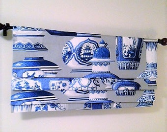 Custom Faux Roman Shade Ming Ware Dove Blue and White Chinoiserie