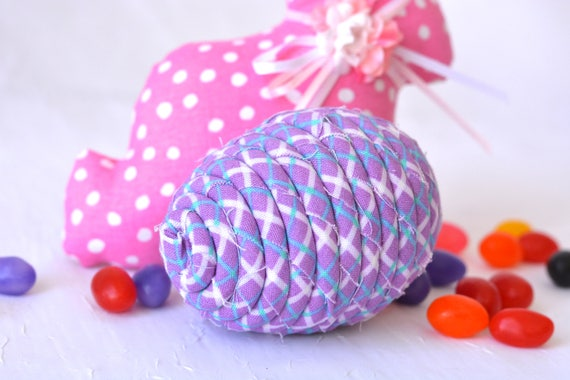 Lavender Easter Egg Ornament, Handmade Lilac Easter Egg Decoration, Bowl Filler, Easter Egg Hunt, Hand Coiled Fiber Easter Egg