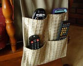 Remote Control Caddy tan/beige upholstery Pocket Organizer 4 pocket