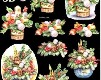 46 - 1 sheet w cutting candle and Christmas flower 3d