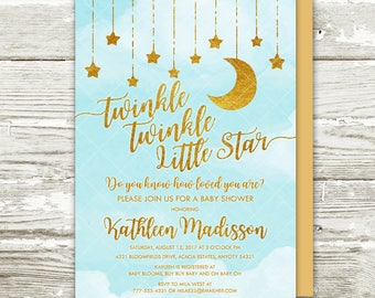 Twinkle Twinkle Little Star Baby Shower Invitation, Blue and Gold Moon and Stars Gender Neutral Baby Shower Printable Invitation