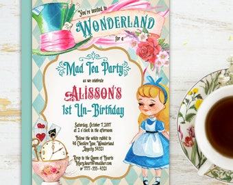 Alice in Wonderland Tea Party Birthday Invitation, One-derland Mad Hatter Tea Party Birthday Invitation Printable Invitation 6v.2