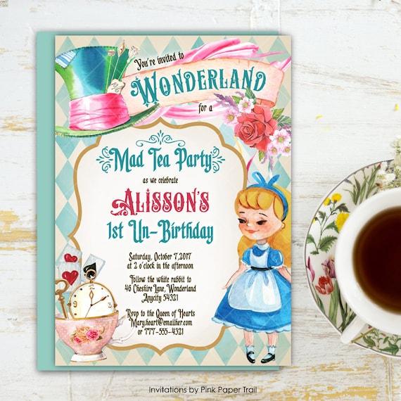 Alice in wonderland tea party birthday invitation one derland mad il570xn filmwisefo