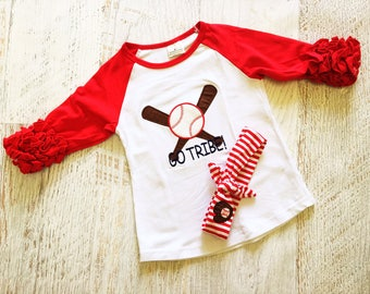 READY TO SHIP Size 2T-3T Cleveland Indian's Girls Ruffled Baseball T-Shirt with Matching Headband