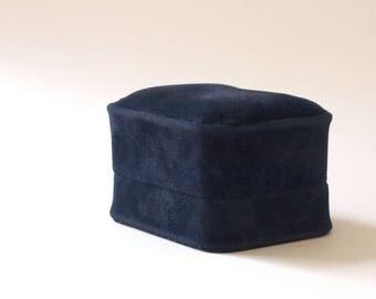 Double Ring Box Wedding, Engagement Ring Box, Cufflink Gift Box, Soft Navy Blue Velvet Box, Ring Bearer Box, Wedding Ring Holder B001