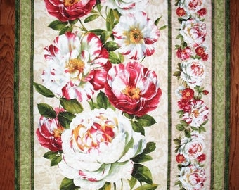 Sale Christmas in July Floral Wall Hanging, Peonies, small lap quilt,